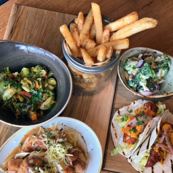 Brussels, Frites, Broccoli Salad, Fish Tacos
