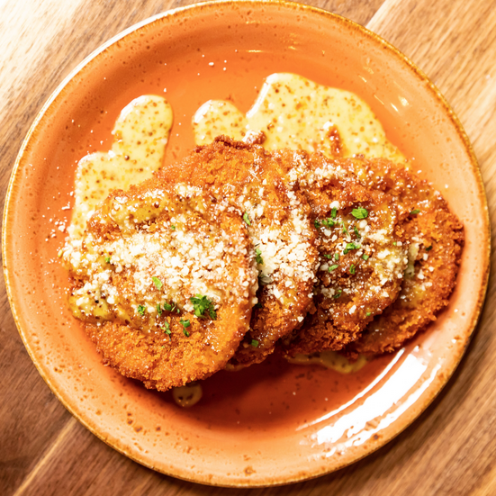 Fried Green Tomatoes with Maple Mustard Drizzle